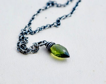 Vesuvianite Necklace, Vesuvianite Pendant, Wire Wrapped, Green Gemstone, Sterling Silver, PoleStar, Green Crystal, Oxidized, PoleStar