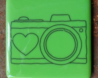 Coaster - Fused glass - Camera - bright green