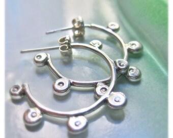southwest Steampunk handmade unique gear hoop earrings in sterling silver