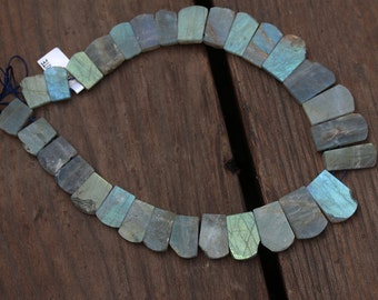 Rough and Smooth Labradorite Collar Beads Full Strand