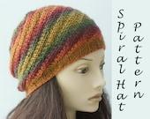 Knit Hat Pattern, Spriral Hat Knitting Pattern,  Knit Beanie PDF Pattern, Winter Hat Pattern, Instant Download