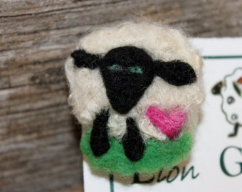 Sheep, Needle Felted Sheep Pin, Felted Sheep Brooch, # 1697
