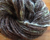 Mossy Branches handspun Border Leister yarn with locks, 133 yards chunky weight