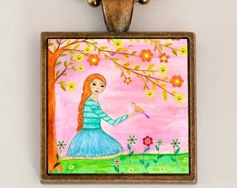 Girls Necklace - Girls Pendant - Handmade Girls Jewelry - Children Jewelry Necklace - Kids Jewelry