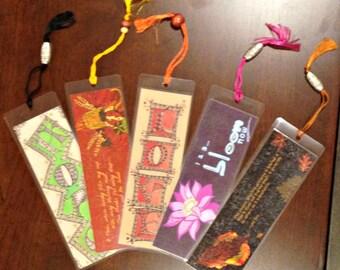 Set of 5 Handmade Bookmarks - Laminated Original Art Print Beaded Silk Tassel -- 2.25 x 7 inches -- DD-3