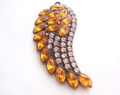 1 Big Angel Wing Pendant, Jewelry Making Supply, Antique Bronze Color with Crystal Rhinestones & Amber Color Rhinestones