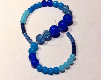 Shades of Blue Glass Beads craft Supplies  beading supplies  diy  necklace bracelet earrings boho native ethnic gypsy  cottage chic