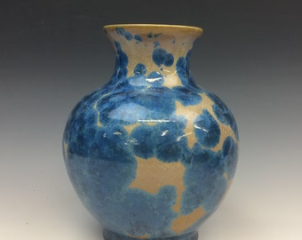 Royal Blue and Orange Crystalline Glazed Vase