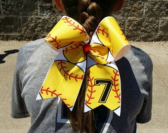 Softball Print with Number Hairbow