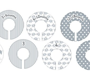 Size 0-6 Elephant Clothing Closet Dividers - Complete Set of 10 Baby Elephant Dividers