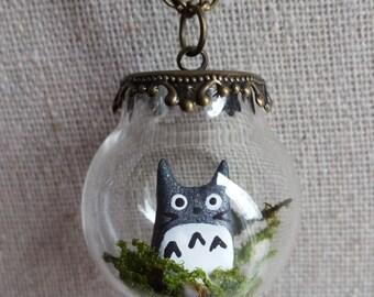 Totoro Terrarium Necklace, Miniature Totoro Forest Spirit in a Fancy Glass Globe Pendant, Hypoallergenic Chain, Miniature Terrarium Jewelry