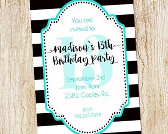 13th birthday Party invitation- Girl Birthday Invitation- Digial File, print yourself- custom - striped - stripes