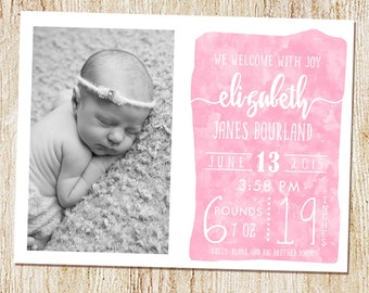 Baby Girl Announcement, Watercolor Birth Announcement, Calligraphy,Typography,Custom Baby Announcement, Printable or printed - Photo Card