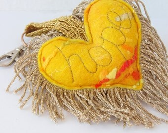 Hope Yellow Plush Love Heart Keychain - A special handmade felt keyring with gold tassel fringe. Bag Charm. Key Fob. Key Chain. Key Ring