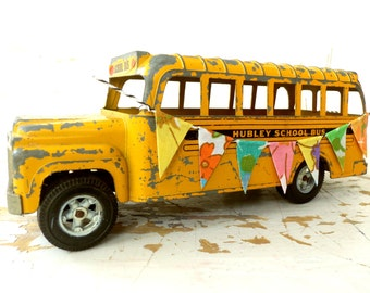 Toy School Bus, Vintage 1970's, NINE Inches LONG, With a Handmade Fabric BanneR