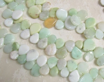 Out Of Town SALE Natural Chrysoprase Slice Briolette Beads,  1/2 Strand 9mm to 16.5mm Briolette Beads, Teardrop