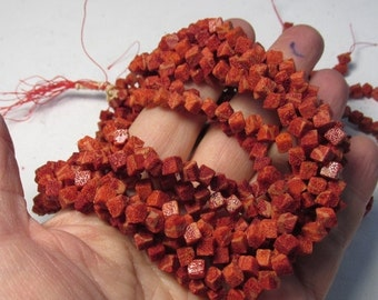 Red Coral Beads 5mm, Cube Square Box Beads,  16 Inches, Red Coral 5mm Beads,