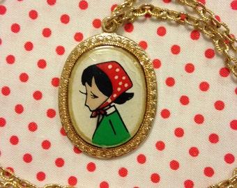 Vintage Japan Showa Era Retro Girl Rune Naito Pendant Necklace With Gold Tone Chain A