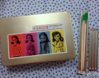Vintage Japan Bento Lunch Box Tin with Lovely Licca Generation Art and Chopsticks