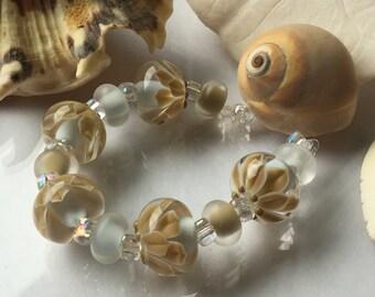 Sage Blooms Encasement Florals Handmade Lampwork Glass Beads SRA