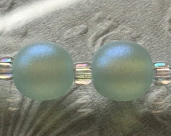 Shimmering Aqua Blue Pearl Pair Handmade Lampwork Glass Beads by Jettonne SRA