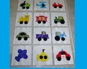"Set of 12 Applique 6"" x 6""  Quilt Blocks  ... Transportation Vehicles"