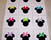 """Set of 12 Applique  6"""" x 6""""  Quilt Blocks  ... Mouse Heads with Polka Dot Bows"""