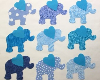 Set of 9 Iron-on Blue Elephant Cotton Fabric Appliques for Quilts Apparel Etc.