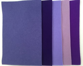 Lovely 100% Wool Felt from De Witte Engel, five colors, one sheet each color, Purple Group 1