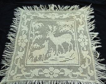 Doily Filet Crochet,  Deer in Woods, vintage pillow topper, handmade 1940s, white, fringe trim, lg square
