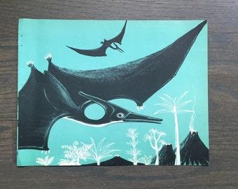 Mid Century Dinosaur Print Vintage Children's Book Page Pterodactyl Illustration Dahlov Ipcar