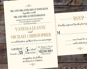 Elegant Wedding Invitation, vintage wedding invitation, art deco wedding invitation, formal wedding invites, printable wedding invitations