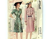 1940s Vintage Sewing Pattern Pleated Button Front Dress McCall 4726 Rare / Size 14