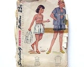 1957 Vintage Sewing Pattern - Girls Sailor Color Play Suit  - Clamdiggers - Shorts - Simplicity 1188 / Size 5
