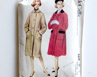 1960s Raglan Sleeve Coat Pattern / Womens Vintage Sewing Pattern McCalls 5612 / Size 16 Bust 36