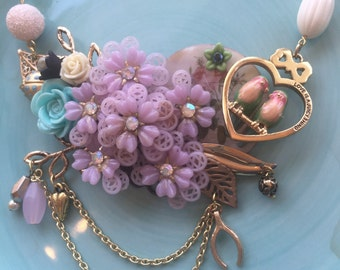 Love Birds collage statement necklace