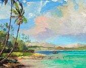 WAIMANALO BEACH Framed Original Oil Painting Art Shore Oahu Tropical Ocean Pier Waves Aqua Outrigger Canoe Hawaii Island Hawaiian Palm Tree
