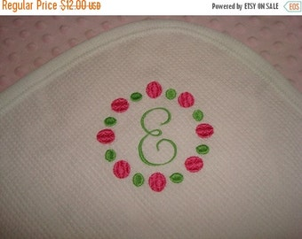 SALE Monogram Thermal Waffle Weave Cotton Blanket -  Approximately 32 in X 40 in Ready To Ship