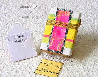 Keepsake Box with gift card (your choice of sentiment) - Matchbox Art in green, yellow, pink and gold, with gift card