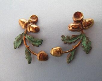 Acorn Earrings Verdiris Pierced earrings Victorian acorns earrings vintage post earrings