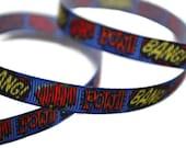 Superhero Ribbon, Comic Book Ribbon, Comic Book Captions, Dog Collar Supplies, Geek Ribbon, Graffiti Ribbon, Cartoon Ribbon, Superhero Party
