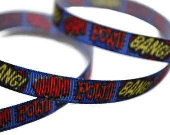 Super hero Ribbon, Comic Book Ribbon, Comic Book Captions, Dog Collar Supplies, Geek Ribbon, Cartoon Ribbon, Super hero Party