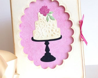 Beautiful Shabby Chic Tiered Cake Card, Blank