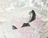 Vintage Japanese Wedding Obi Kimono Silk Fabric Panel Silver Pink Royal Noble Lady Heian Princess
