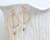 Silver Hoop and Copper Wire Drop Earrings