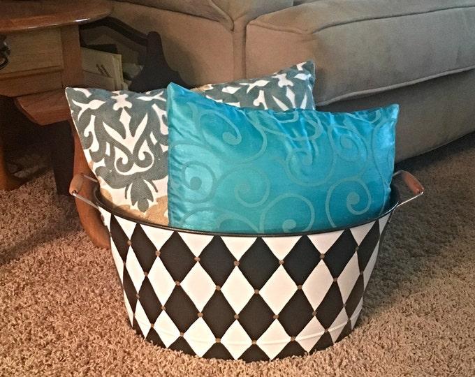 Metal storage Bucket, beverage bucket, whimsical painted beverage bucket, harlequin