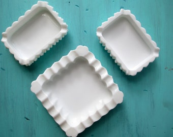 Fenton Milk Glass Hobnail Ashtray/Dish Set of Three - Vintage Chic