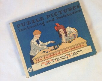Vintage Victorian Puzzle, Fine Fun on the Ice, Wonderful Graphics on the Box
