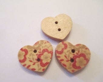10 Painted Flower Heart Wooden Buttons Sewing Craft Supplies