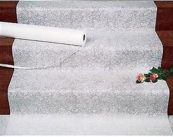 White Fabric Lace 100' Long Wedding Aisle Runner Durable Aisle Runner
